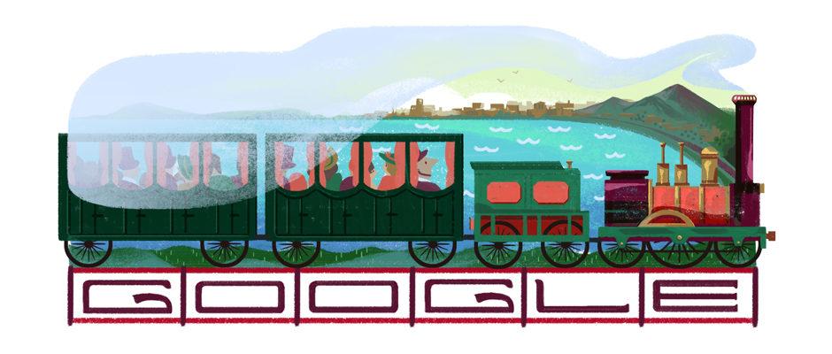 Google Doodle jährt sich zum 180. Mal zur Eröffnung der ersten italienischen Eisenbahn