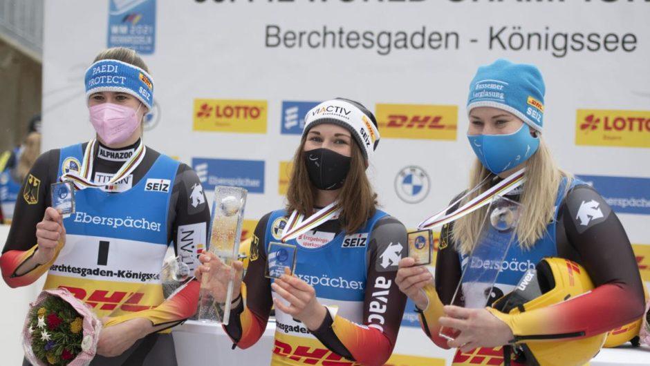 Deutsche fegen Frauenrodelmedaillen, Österreich gewinnt Staffeltitel bei der Weltmeisterschaft